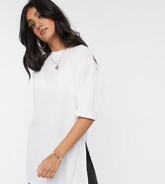 Asos Tall DESIGN Tall relaxed longline t-shirt in rib with side splits in white