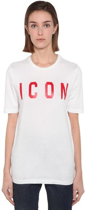 DSQUARED2 PRINTED ICON COTTON JERSEY T-SHIRT