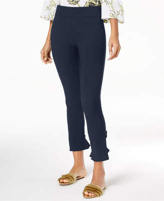 INC International Concepts Inc Curvy Ruffled-Hem Ankle Skinny Pants