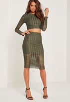 Missguided Laser Cut Midi Skirt Khaki