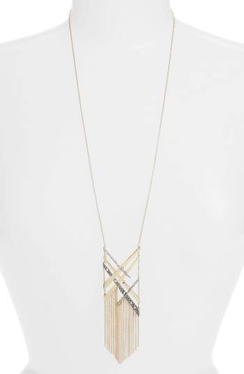 Alexis Bittar Plaid Tassel Necklace