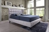 Baxton Studio Bellissimo Modern & Contemporary Linen Upholstered Button Tufted Platform Bed with Classic Legs, Queen, Beige/Black