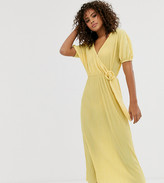 Asos Tall DESIGN Tall exclusive midi plisse tea dress with resin buckle