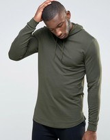 Asos Longline Muscle Hoodie With Curved Hem & Side Zips
