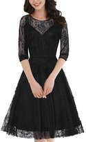 OWIN Women's Retro Floral Lace Cap Sleeve Vintage Swing Bridesmaid Dress (XL, )
