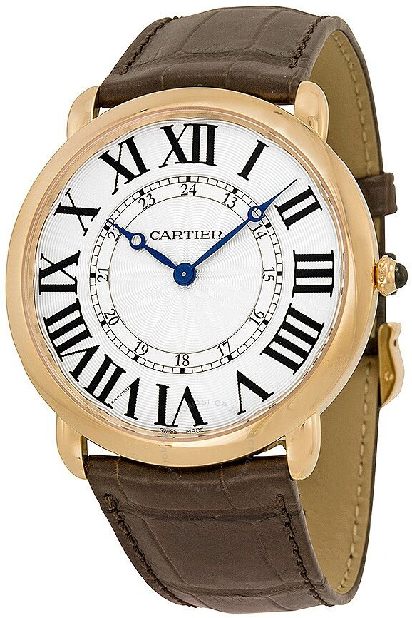 Cartier Ronde Louis Silvered Flinque Dial Men's Watch