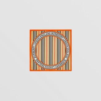 Burberry Icon Stripe and Logo Graphic Silk Small Square Scarf