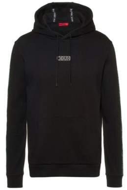 HUGO Hooded sweatshirt in interlock cotton with logo-tape sleeves