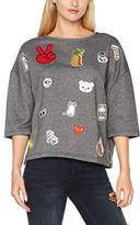 PepaLoves Pepa loves Women's Patches Sweatshirt Charcoal Sports Hoodie