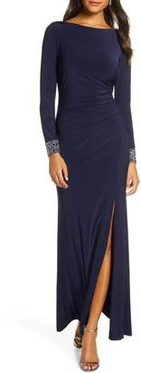 Vince Camuto Beaded Long Sleeve Gown