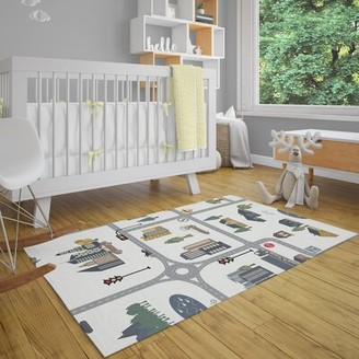 Zoomie Kids LosPalmos Map Gray Area Rug Rug Size: Rectangle 2' x 3'