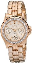 Burgi Women's BUR117RG Diamond & Crystal Accented Guilloche Dial Rose Gold Bracelet Watch