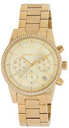MICHAEL Michael Kors Ritz 37mm Chronograph Watch w/ Crystals, Golden
