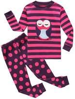 Family Feeling Owl Little Girls 2 Piece 100% Cotton Pajamas Sets Kids Pjs Sleepwear SizeT