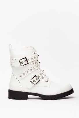 Nasty Gal Womens Embellish in the Fact Faux Leather Biker Boots - White