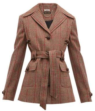 Miu Miu Belted Checked Wool-blend Jacket - Womens - Red Multi