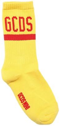 GCDS Logo Intarsia Cotton Rib Knit Socks