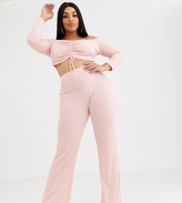 Lasula Plus lounge ribbed pant co ord in pink