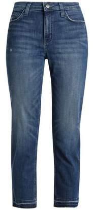 Current/Elliott Cropped Distressed Mid-rise Slim-leg Jeans
