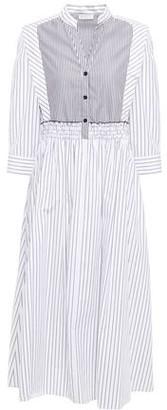Sandro Alison Shirred Striped Cotton-poplin Midi Dress