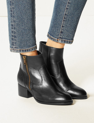 Marks and Spencer Wide Fit Leather Ankle Boots