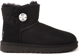 UGG Mini Bailey Black Suede Ankle Boots