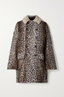 R13 - Fleece-trimmed Leopard-print Cotton-blend Faux Fur Coat - Leopard print