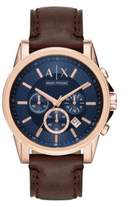 Armani Exchange Outer Banks Leather Strap Watch, AX2508