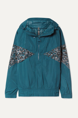 adidas by Stella McCartney Hooded Printed Shell Jacket - Teal