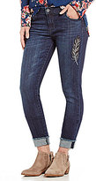 KUT from the Kloth Amy Ankle Straight Leg Feather Embroidered Roll-Cuff Jeans