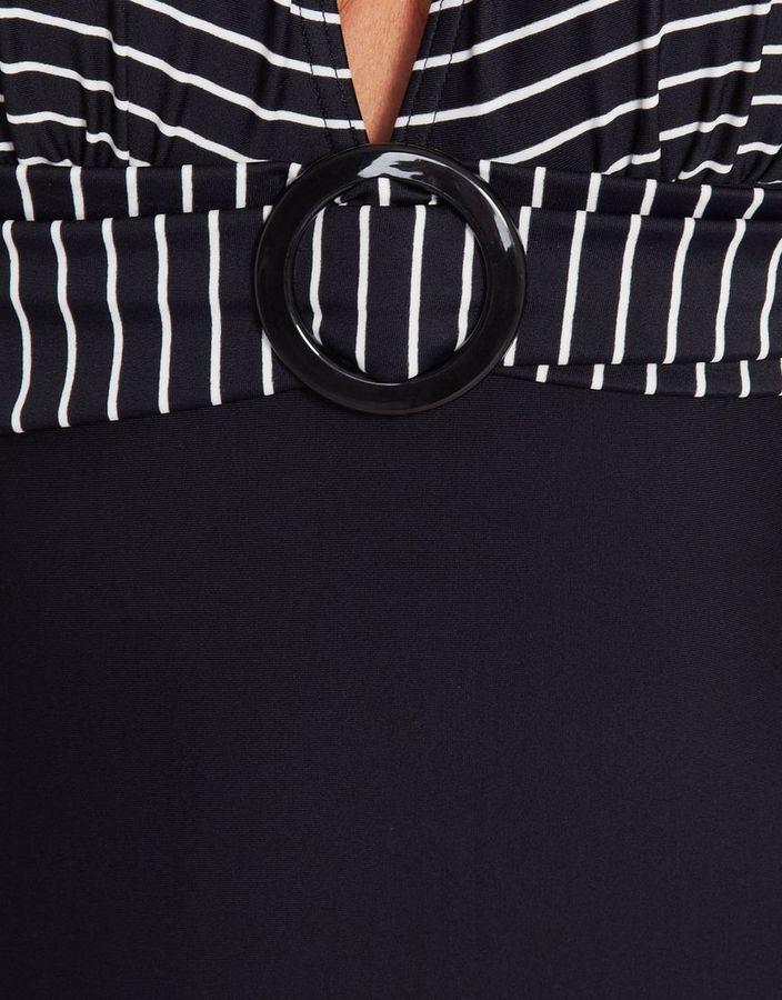 Figleaves swimwear Tailor Pinstripe Halter Tummy Control Swimsuit