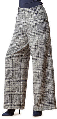 Eva Franco Hepburn Plaid Wide-Leg Pants