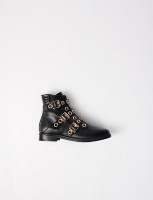 Maje Multi-strap flat boots with eyelets
