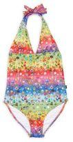 Zara Terez Girl's Emoji-Print Halterneck One-Piece Swimsuit