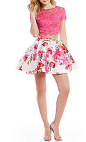 B. Darlin Short-Sleeve Lace Illusion-Yoke Top To Floral High-Waist Skirt Two-Piece Dress