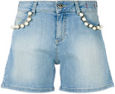 Twin-Set pearl embellished denim shorts - women - Cotton/Polyester/Spandex/Elastane - 25
