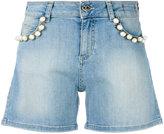 Twin-Set pearl embellished denim shorts