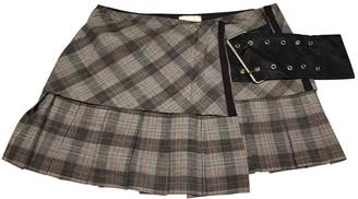 Pinko Anthracite Wool Skirt for Women