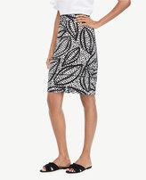 Ann Taylor Curvy Cheetah Leaf Piped Pencil Skirt
