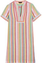J.Crew Quinlan Striped Cotton, Ramie And Linen-blend Mini Dress - Blue