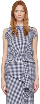 pushBUTTON White and Navy Gingham Frills Tank Top