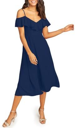 Show Me Your Mumu Camilla Ruffle Neck Tea Length Dress