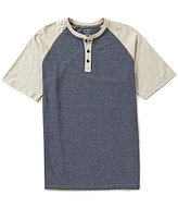 Roundtree & Yorke Soft-Washed Short-Sleeve Striped Color Block Henley
