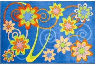 Fun Rugs Supreme Burst Flower Blue Area Rug