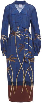 Stella Jean Printed Crepe Midi Wrap Dress