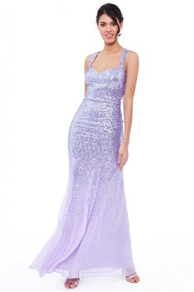 Goddiva Lavender Criss Cross Back Sequin Maxi Dress