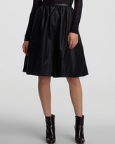 HALSTON HERITAGE Mid Length Full Faux Leather Skirt