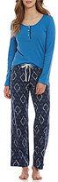 Lucky Brand Geometric-Print Flannel Pajamas