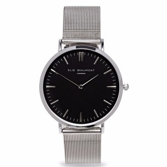 Elie Beaumont Oxford Small Silver Black Dial Mesh