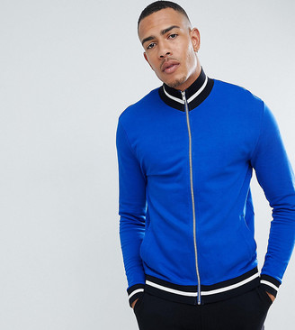 ASOS DESIGN Tall organic jersey track jacket in bright blue with contrast tipping